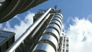 Stock Video Footage of Time Lapse Lloyds Building with Clouds