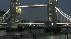 Famous London Tower Bridge at night Stock Footage