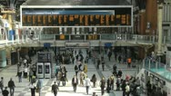 Stock Video Footage of fast moving crowd at liverpool street station time lapse