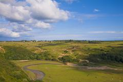 Welsh landscape at Pennard near Three Cliffs Bay - stock photo