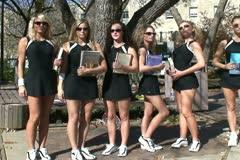 Girls Tennis Team Stock Footage