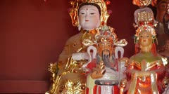 Gorgeous statues.Chinese God sculpture of wealth.Matsu toy,Goddess of Mercy. Stock Footage