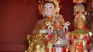 Stock Video Footage of Gorgeous statues.Chinese God sculpture of wealth.Matsu toy,Goddess of Mercy.