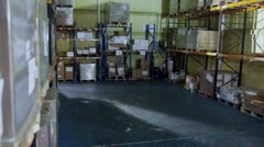 2 warehouse workers are checking their inventory Stock Footage