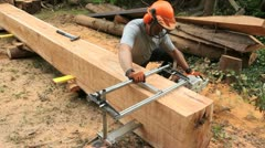 Stock Video Footage of chain saw mill