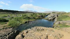 Iceland Pingvellir rift with water 03 Stock Footage