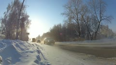 Snowy winter road in extreme cold. Stock Footage