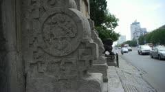 Bronze metal stone lion unicorn.sculpture statue,stone carvings pattern.Urban t Stock Footage
