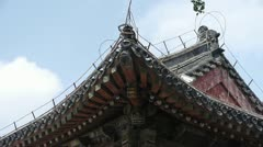 Carved beams & painted buildings.sculpture on roof eaves,China ancient architec Stock Footage