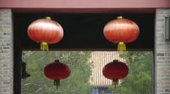 Chinese lanterns.Ancient city Great Wall gate.Historic walls. Stock Footage