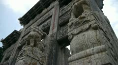 China stone arch building & ancient city gate.Cloud,stone lions unicorn. - stock footage