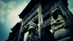 Stock Video Footage of China stone arch building & ancient city gate.movement of clouds,stone lions un
