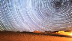 Unbelievable Galaxy Space Star Trails Timelapse Over Desert Stock Footage