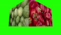 Fresh produce rotating cube green screen animated background abstract art food Stock Footage