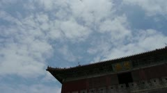 Stock Video Footage of Great Wall & stone battlement,ancient DaiMiao city gate & movement of cloud.