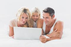 Stock Photo of Calm family using together a laptop