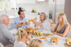 Smiling adults raising their glasses - stock photo