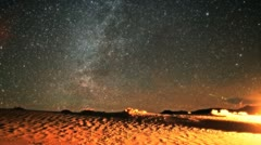 Incredible Milky Way Galaxy and Geminid Meteor Timelapse over Desert Stock Footage