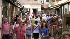 Busy Italian street market in Venice Stock Footage
