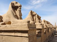 sculptures at precinct of amun-re in egypt - stock photo