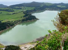 Lakeside scenery at the azores Stock Photos