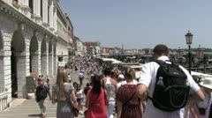 People at outdoor market of Venice Italy Stock Footage