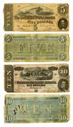 Old confederate five and ten dollar bills Stock Photos