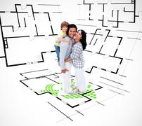 Family against an architectural plan background Stock Photos