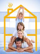 Family having fun with yellow house illustration Stock Illustration