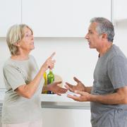 Wife arguing with her husband Stock Photos