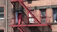 Fire escapes on the back of a building. Stock Footage