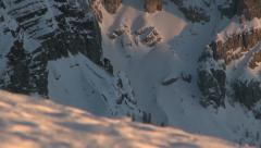 Walking on snow in alps mountains - stock footage