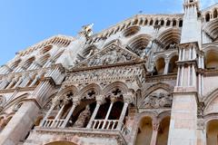 side view of facade ferrara cathedral, - stock photo