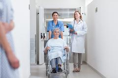 Smiling nurse assisting senior woman sitting in a wheelchair - stock photo