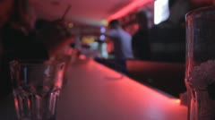 Bar & alcohol in night club. Stock Footage