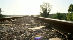 Railroad Tracks. Low angle Dolly Shot Stock Footage
