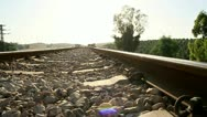 Stock Video Footage of Railroad Tracks. Low angle Dolly Shot