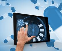 Finger selecting something on a digital tablet - stock illustration