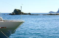 prow of yacht on sea background - stock photo