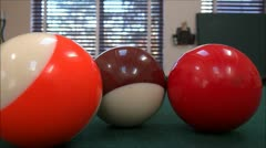 Playing Billiards - Playing Pool - Pool Table - Table View Stock Footage