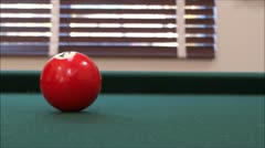 Playing Billiards - Playing Pool - Pool Table - Cue Ball at Camera Stock Footage