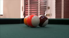 Playing Billiards - Playing Pool - Pool Table - Ball in Pocket - stock footage