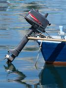 blue boat - stock photo