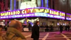 Radio City Christmas holiday season crowd people walking in New York City - stock footage
