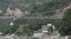 Suspension rope bridge Rishikesh Stock Footage