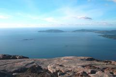 Cape Finisterre seen from mount Pindo. - stock photo