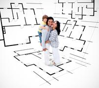 Smiling family against an architectural plan background Stock Photos