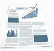 Business newspaper named world news with graphics - stock illustration