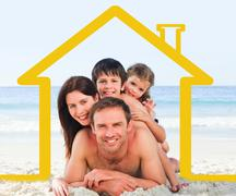Family on the beach with yellow house illustration - stock illustration