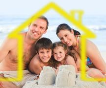 Family on a beach with yellow house illustration Stock Illustration